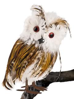 Schleiereule Vogel-Deko weiss-braun-schwarz 22cm
