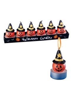 Kürbis-Kerzen mit Hut Halloween Deko 6er-Set orange-schwarz-gelb 5cm