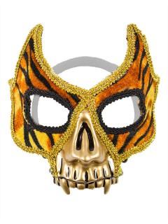 Venezianische Maske mit Tiger-Muster und Zähnen gold-braun-schwarz