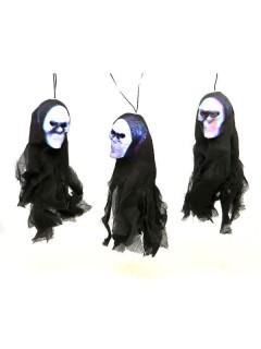 Girlande Skelette mit Licht Halloween Party-Deko schwarz-weiss 200x6x10cm