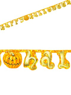 Kürbis-Girlande Happy Halloween bunt 250x17cm