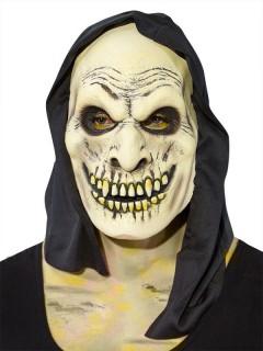 Dämon-Maske mit Kapuze Halloween beige-schwarz