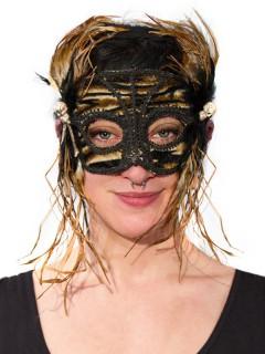 Venezianische Augenmaske mit Federn Halloween-Maske schwarz