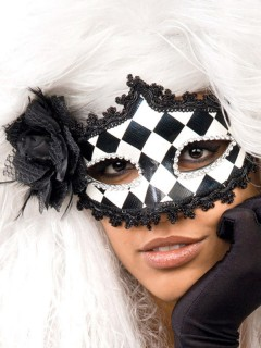 Domino Harlekin Barock Halloween Venezianische Maske weiss-schwarz-silber