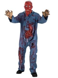 Zombie-Feuerleiche Halloween-Kostüm blau-rot