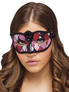 Venezianische Augenmaske schwarz-rosa-lila