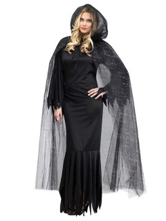 Umhang mit Kapuze Halloween glitzernd schwarz-silber