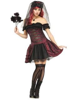 Gothic Vampir-Braut Halloween Damenkostüm bordeaux-schwarz