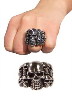 Gothic-Ring Totenschädel silber
