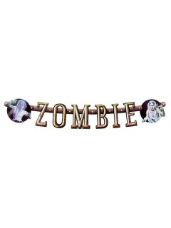 Banner Girlande Zombie Halloween Party-Deko bunt 100x14cm