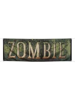 Banner Zombie Halloween-Deko grün 74x220cm