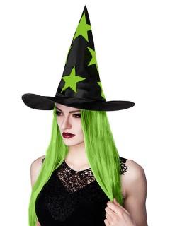 Halloween-Hexenhut mit Haaren schwarz-grün