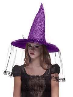 Hexenhut mit Schleier Halloween Kostümaccessoire schwarz-lila