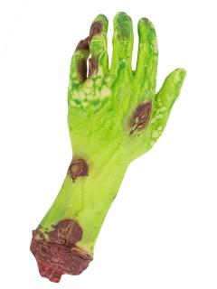 Blutige Zombie Horror-Hand Leichenteil Halloween Party-Deko grün-rot 26x8x4cm