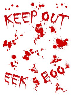 Blutige Wandsticker Keep Out Halloween Party-Deko weiss-rot 25x70cm