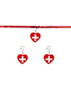 Krankenschwester Schmuckset Halskette und Ohrringe rot-weiss