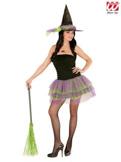 Hexen-Damenkostüm sexy Hexi Halloweenkostüm schwarz-lila-grün