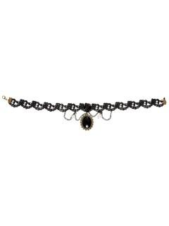 Gothic Halskette mit Schmuckstein Vampirin schwarz-gold