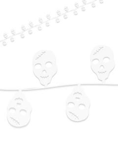 Totenschädel-Girlande Halloween-Deko weiss 760x4cm