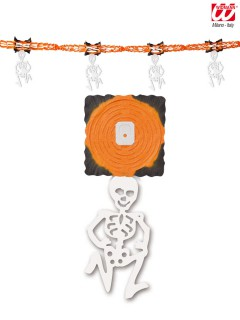 Skelettgirlande Party-Deko für Halloween orange-weiss-schwarz 300x31cm