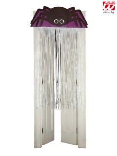 Halloween-Türdeko Spinne lila-schwarz-weiss 90x165cm