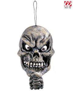 Grinsender Totenschädel Halloween-Deko zum Aufhängen grau 15 cm