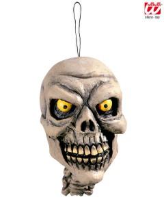 Grinsender Totenschädel Halloween Deko zum Aufhängen beige 15cm