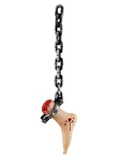 Abgehackter Fuss an Kette Halloween Deko grau-haut 75cm