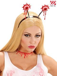 Blutige Augen Halloween Haarreif schwarz-weiss-rot