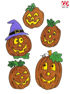 Kürbis Fenstersticker Halloween 5 Stück orange glitzernd 11-18cm