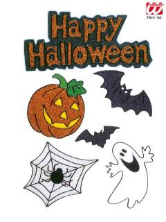 Happy Halloween Fenster Sticker Glitzer-Set 6-teilig bunt