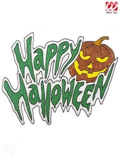 Kürbis Halloween Fenster Sticker Glitzer orange-grün 34,5x28cm
