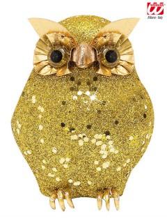 Glitter-Eule Halloween-Deko gold 10,5x4,5x4,5cm