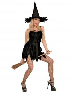 Verruchte Hexe Halloween Damenkostüm schwarz