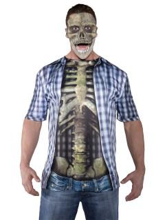 Halloween Skelett T-Shirt Karo-Muster bunt