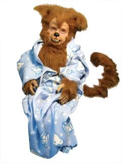 Halloween Handpuppe Werwolf im Schlafmantel blau-braun-weiss 58cm
