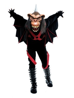 Geflügelter Affe Halloween-Kostüm mit Maske schwarz-rot