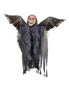 Geflügelter Tod Skelett Halloween Party-Deko grau-weiss 127x107x30cm