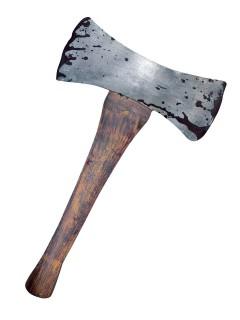 Blutige Doppelseitige Axt Halloween Waffe grau 46x27cm