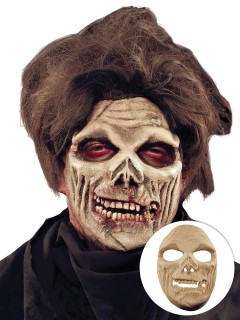 Grinsender Zombie Halloween Latex-Applikation beige