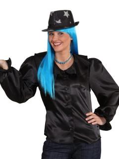Glänzende Bluse mit Schnürung schwarz