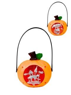 Kürbis-Hängedeko mit Licht Halloween orange-rot-silber 13x23cm