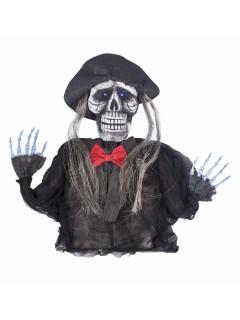 Skelett-Pirat mit Leuchtaugen Halloween-Dekofigur schwarz-weiss 32x55cm