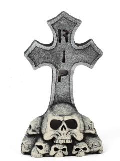 Grabstein mit Totenschädeln RIP Skelett Halloween Party-Deko grau-beige 30x52cm
