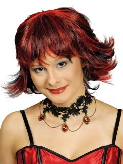 Bob-Perücke Halloween-Accessoire rot-schwarz