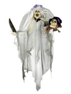 Zombie-Braut Hängedeko Halloween weiss-grau 80x60cm