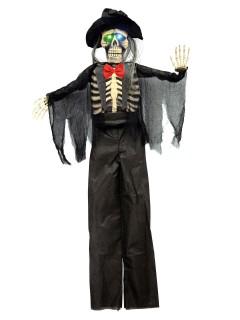 Schauriger Zombie-Bräutigam mit Leuchtaugen Halloween-Hängedeko schwarz 150cm