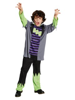Monster-Kinderkostüm Halloweenkostüm grün-lila