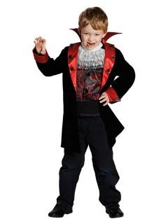 Kleiner Vampir Halloween Kinderkostüm schwarz-rot