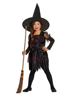 Süsse Hexe Magierin Halloween Kinderkostüm schwarz-pink